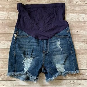 Pinkblush Maternity Distressed Raw Hem Jean Shorts